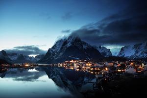 Norway Lofoten Mountains Evening Coast 5k Wallpaper