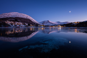 Norway Mountains Evening Lake Cities Night