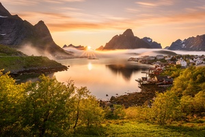 Norway Scenery Mountains Reine Fog Sun Bay 4k Wallpaper