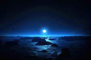 Ocean Dark Night Moon 4k