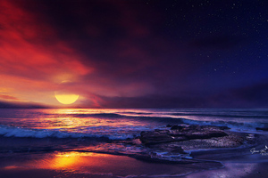Ocean Sunset Illustration Wallpaper