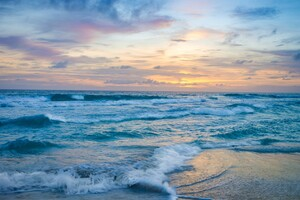 Ocean Waves at Sunset Wallpaper