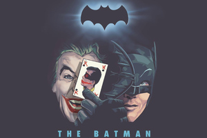 Old Joker And Bat Minimal 4k Wallpaper