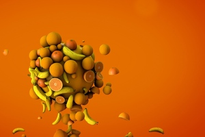 Orange Bananas 3d Wallpaper