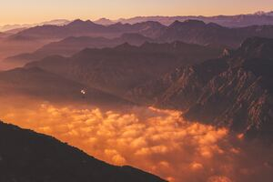 Orange Clouds Mountains Morning 5k Wallpaper