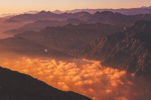 Orange Clouds Mountains Morning 5k