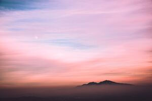 Orange Cloudy Sky Mountains Sun 5k