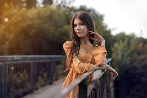 Orange Dress Girl 4k Wallpaper