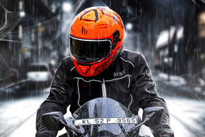 Orange Helmet Biker 4k Wallpaper