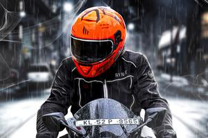 Orange Helmet Biker 4k