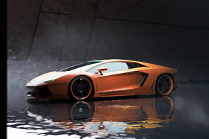 Orange Lamborghini Aventador Car Wallpaper