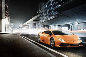 Orange Lamborghini Huracan 8k