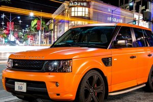 Orange Land Rover