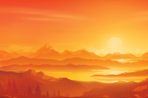 Orange Landscape Morning Minimal 5k Wallpaper