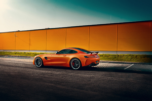 Orange Mercedes Benz Amg GT Rear Wallpaper
