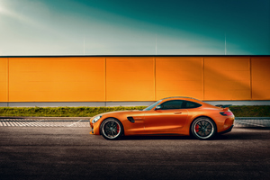 Orange Mercedes Benz Amg GT Side View Wallpaper