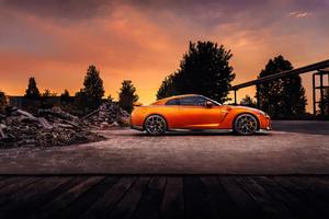 Orange Nissan GTR 4k