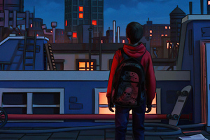Out Of My Mind Boy With Backpack In Back 5k Wallpaper