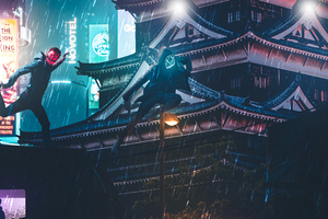 Over Roof Top Cyberpunk Masks Wallpaper