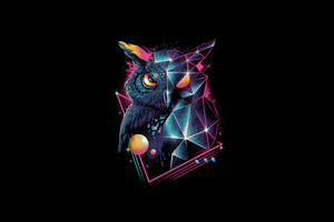 Owl 80s Design 4k Wallpaper