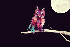 Owl Low Poly 4k