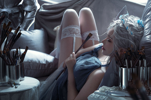Painter Girl Lying Couch By Wlop 5k Wallpaper