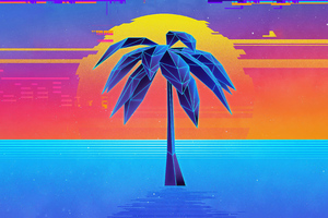 Palm Tree Retro Synthwave 4k Wallpaper