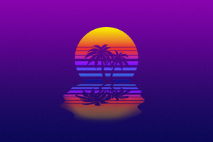 Palm Tree Synthwave Wallpaper