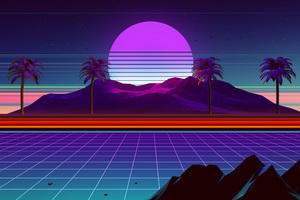Palm Trees Neon Sun Rays 80s Wallpaper