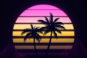 palm trees retrowave 4k hk