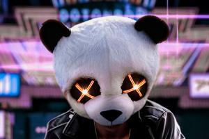 Panda Glowing Eyes Mask 4k Wallpaper