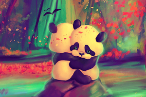 Panda Lovers 4k Wallpaper