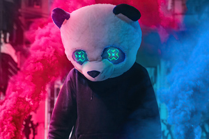 Panda With Two Smoke Bombs 4k