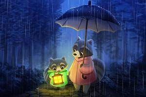 Pandas In Rain