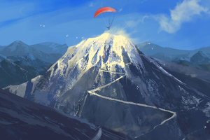 Paragliding To The Mountains Wallpaper