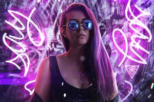 Pavel Blonde Girl Neon Light