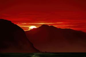 Peaceful Mountains Sunset 5k Wallpaper