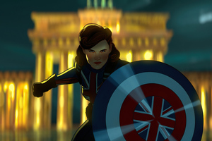 Peggy Carter As Captain America In What If Tv Series Wallpaper