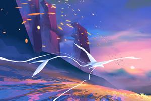 Petal Field Bird 4k Wallpaper