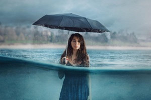 Photography Manipulation Umbrella Girl Women Rain Wallpaper