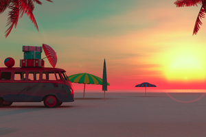 Picnic Van Beach Minimalism 4k