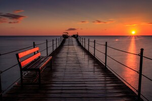 Pier Bench Sunset 5k Wallpaper