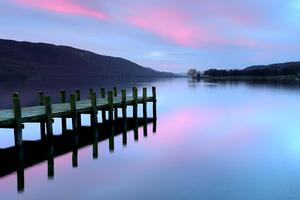 Pier Lake District Evening 4k Wallpaper