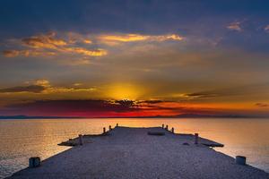 Pier Sunset Evening 5k Wallpaper