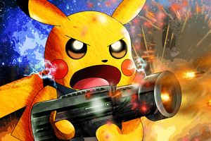 Pikachu As Rocket Raccoon Wallpaper