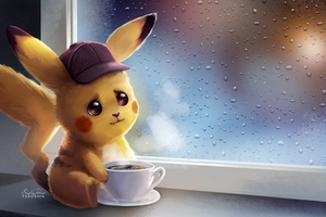 Pikachu Drinking Coffe Wallpaper