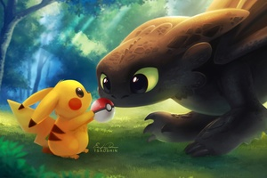 Pikachu With Pokeball Toothless Wallpaper