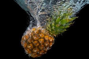 Pineapple Water Splash 5k Wallpaper