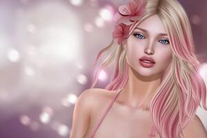 Pink Fantasy Blonde Girl Flower Artwork 5k Wallpaper