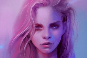Pink Girl Portrait Art 4k